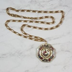 Vintage Oriental Cloisonne Peacock Necklace